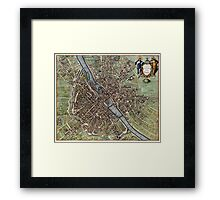 Vintage Map of Paris (1657)  Framed Print