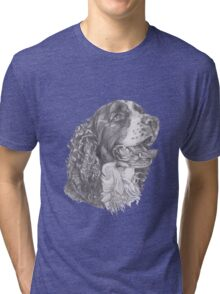 Classic English Springer Spaniel Dog Profile Drawing Tri-blend T-Shirt