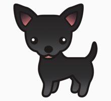 Black Smooth Coat Chihuahua Cartoon Dog by destei