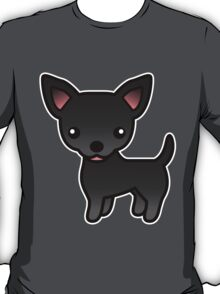 Black Smooth Coat Chihuahua Cartoon Dog T-Shirt