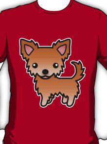 Red Long Coat Chihuahua Cartoon Dog T-Shirt