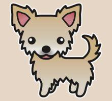 Fawn Long Coat Chihuahua Cartoon Dog by destei
