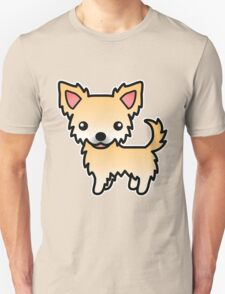 Fawn Long Coat Chihuahua Cartoon Dog T-Shirt
