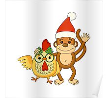Funny cartoon monkey with cute cock. Poster