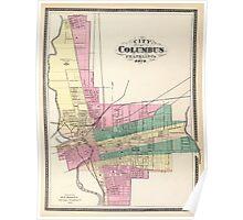 Map of Columbus 1872 Poster