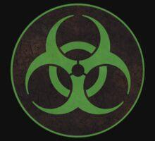 Aged and Beaten Biohazard Symbol Green - Apocalypse Nerd Baby Tee