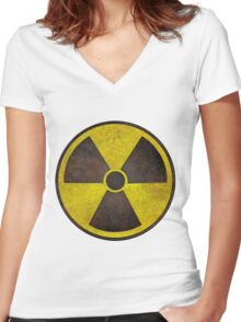 Radioactive Fallout Symbol - Scratched Women's Fitted V-Neck T-Shirt