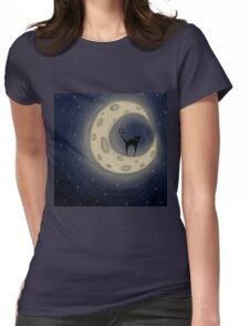 Cat on the Moon Womens Fitted T-Shirt