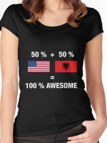 Half Albanian Half American 100% Awesome Flag Albania  Women's Fitted Scoop T-Shirt