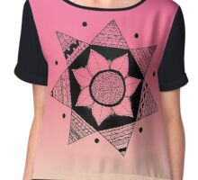 Flower Drawing - Pink Ombre Background (Smaller) Chiffon Top