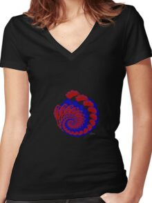 Fractal reds blues 101416 Women's Fitted V-Neck T-Shirt