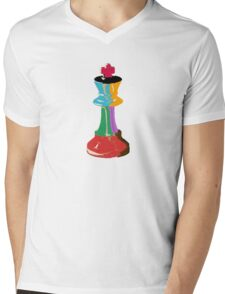 Colorful Chess King Piece Mens V-Neck T-Shirt