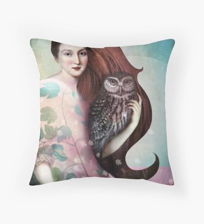 She and her Owl Throw Pillow