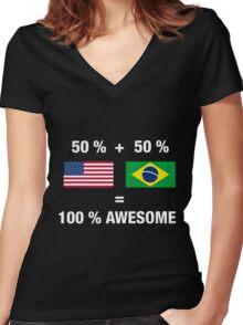 Half Brazilian Half American 100% Awesome Flag Brazil Women's Fitted V-Neck T-Shirt