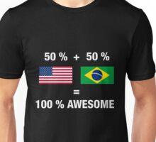 Half Brazilian Half American 100% Awesome Flag Brazil Unisex T-Shirt