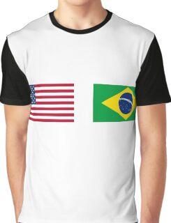Half Brazilian Half American 100% Awesome Flag Brazil Graphic T-Shirt