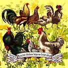 Gazing at Victorian Chickens 3 by Donna Catanzaro