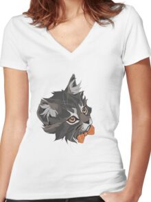 Bowtie Cat Women's Fitted V-Neck T-Shirt