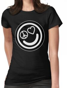Peace, Love, and Happiness Womens Fitted T-Shirt