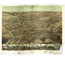 Vintage Pictorial Map of Pontiac Michigan (1867)  Poster