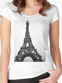 Eyeful Tower Black and White Women's Fitted Scoop T-Shirt