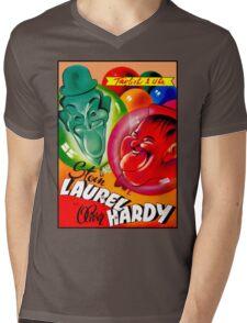 LAUREL AND HARDY; Vintage Movie Print Mens V-Neck T-Shirt