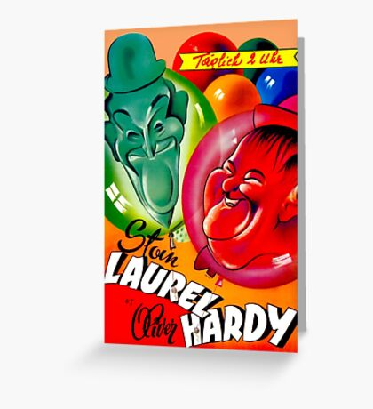 LAUREL AND HARDY; Vintage Movie Print Greeting Card