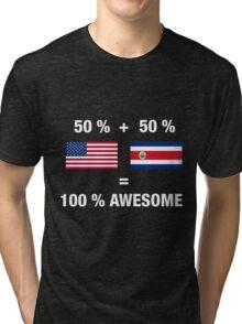Costa Rican American Half Costa Rica Half America Flag Tri-blend T-Shirt