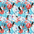 floral pattern with hummingbird  by Tanor