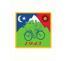 LSD Acid Hofmann Bike ride Blotter Art Psychedelic Art Print
