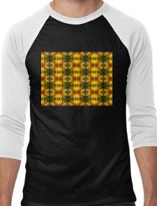 Sunflower with Bee Macro Pattern Men's Baseball ¾ T-Shirt