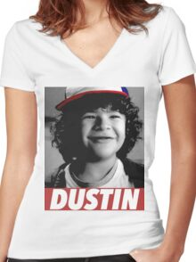 DUSTIN IS MY HERO Women's Fitted V-Neck T-Shirt