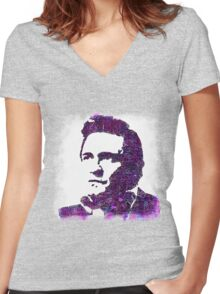 The Man in Black, in Color! Women's Fitted V-Neck T-Shirt