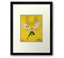 Hawkman - Superhero Minimalist Alphabet Print Art Framed Print