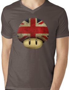 Union jack Mario's mushroom Mens V-Neck T-Shirt