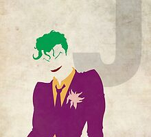 The Joker - Superhero Minimalist Alphabet Print Art by justicedefender