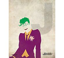 The Joker - Superhero Minimalist Alphabet Print Art Photographic Print