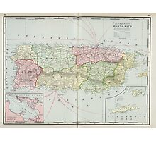 Vintage Map of Puerto Rico (1901) Photographic Print