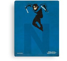 Nightwing - Superhero Minimalist Alphabet Print Art Canvas Print