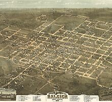 Vintage Pictorial Map of Raleigh NC (1872) by BravuraMedia