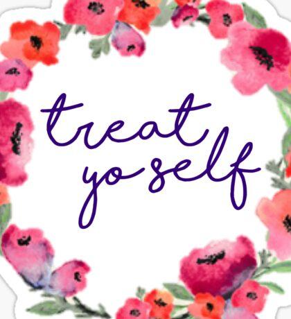 Treat Yo Self Pink Floral Wreath Sticker