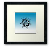 Flower Drawing - Blue Ombre Background (Smaller) Framed Print