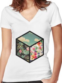 Floral Vintage Cube Women's Fitted V-Neck T-Shirt