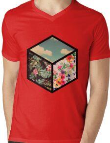 Floral Vintage Cube Mens V-Neck T-Shirt