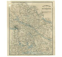 Vintage Map of The Richmond Virginia Area (1864) Photographic Print