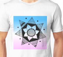 Flower Drawing - Pink and Blue Ombre Background (Larger) Unisex T-Shirt