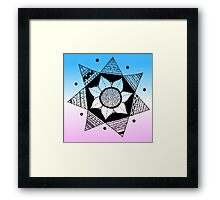 Flower Drawing - Pink and Blue Ombre Background (Larger) Framed Print