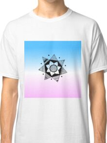Flower Drawing - Pink and Blue Ombre Background (Smaller) Classic T-Shirt