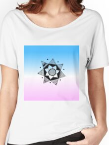 Flower Drawing - Pink and Blue Ombre Background (Smaller) Women's Relaxed Fit T-Shirt