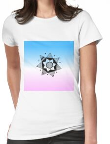 Flower Drawing - Pink and Blue Ombre Background (Smaller) Womens Fitted T-Shirt